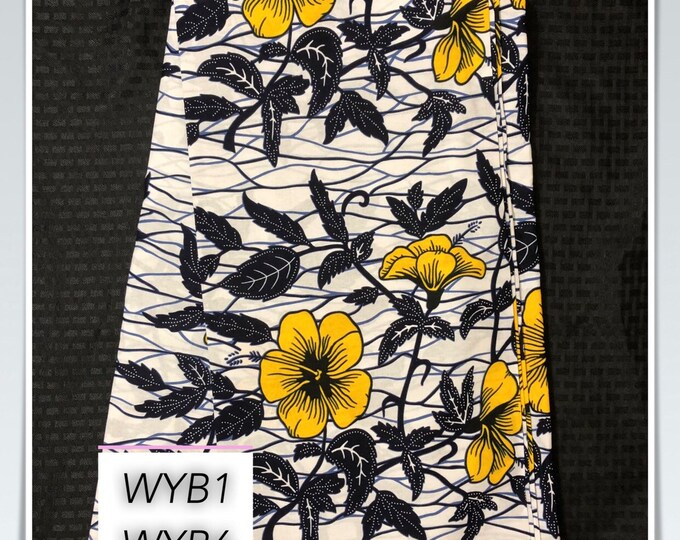 Wyb6 6 yards white dark ink blue Yellow Flower Design African Fabric/African Wax print/ Ankara for Sew Dress/ African Art/ cloth dolls