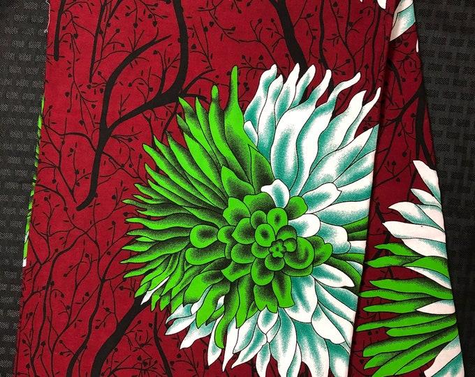 African fabric per yard White  green floral burgundy red African Fabric/African Wax print/ Ankara for Sew Dress/ African Art/ cloth dolls