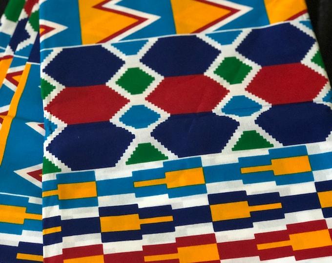 K159 per yard yellow/ red Blue green kente african Fabric/ kente Wax print/ kente cloth/ Material/head wrap/ethnic tribal print