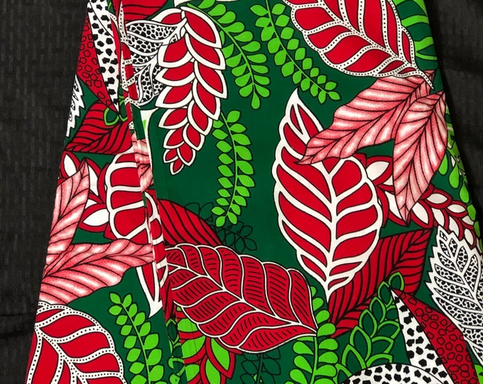 RG2 African fabric per yard White  green red leaf African Wax print/ Ankara for Sew Dress/ African Art/ cloth dolls
