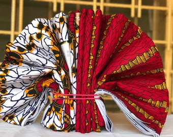 3 yards each Mix and Match white Red/ Yellow African Fabric/ ankara/ african Wax Print/ ethnic print/ African Material/ Doll Cloth