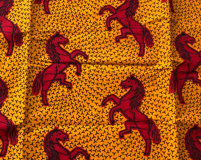 OR1 African print per yard red orange jumping horse African fabric/ African clothing/ African home decor/ ethnic print/ African material