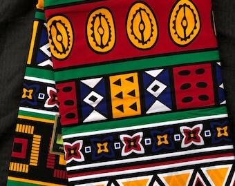 OBP6 6 yards African fabric orange/ red/ Blue Mudcloth  Fabric tribal ethnic print / kente Wax print/ kente cloth/ Material