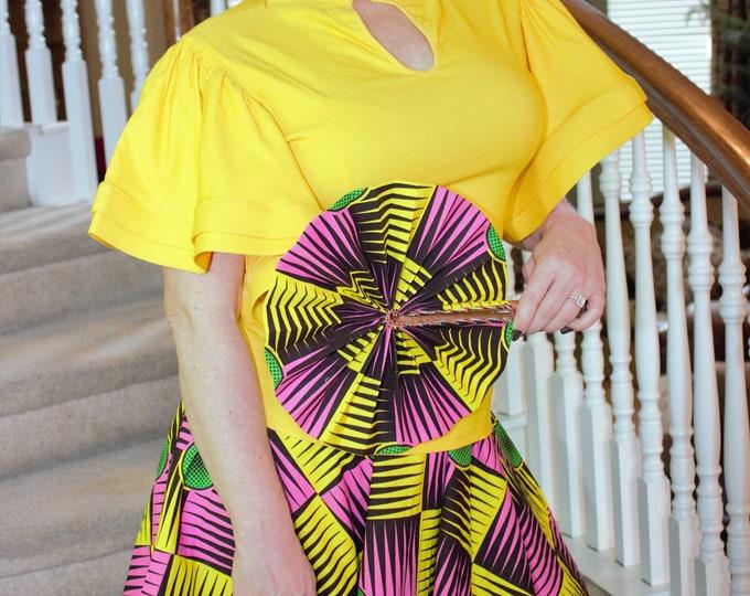Kente knee length pink yellow flare skirt. african fabric skirt / ethnic skirt / dashiki skirt / women wear/Ankara/African wax print skirt