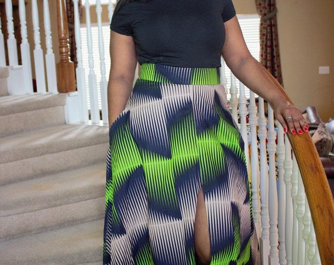 Black Green Beige Long fabric skirt with front slit and pockets / ethnic skirt / dashiki skirt / women wear/Ankara/African wax print skirt