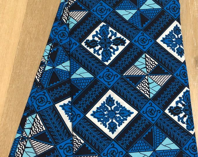 BW12 african fabric per yard Blue white diamond linoleum/ African Wax print/ Ankara/ Sew Dress/ cloth dolls/ table napkins/ upholstery