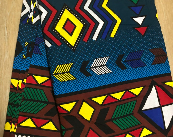 MC156 per yard yellow/  Blue green yellow african Fabric/ kente Wax print/ kente cloth/ Material/head wrap/ethnic tribal print