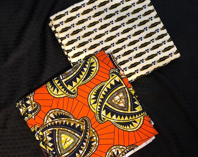 MM478 3 yard each floral Orange black white Mix Match African Wax/ African Fabric/ankara/ Material/ decor pillows/ african cloth dolls