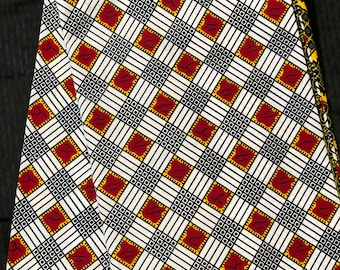 A6528 6 yards African fabric White/ red/ Yellow checkerboard squares /African Wax print/ Ankara for Sew Dress/ African Art/ cloth dolls