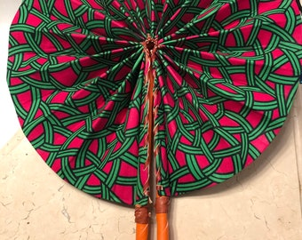 Green pink mesh Ankara african wedding favor ethnic print fabric round windmill style handmade hand fan with leather trim folding