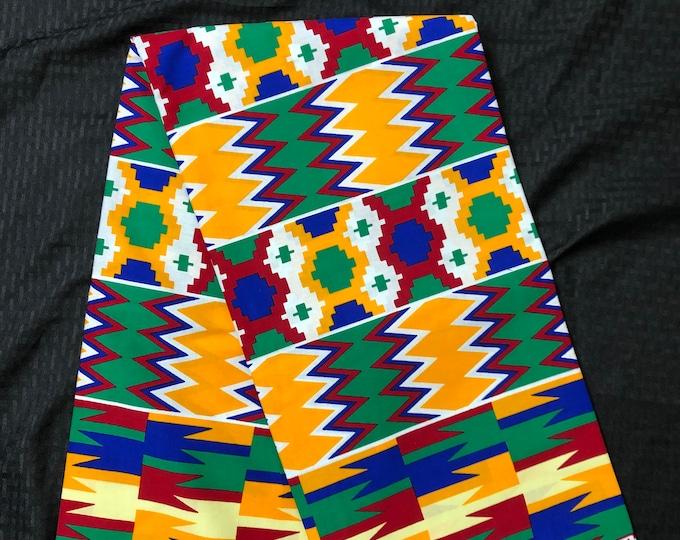 BK62 6 yard yellow/ orange/ Red green kente african Fabric/ kente Wax print/ kente cloth/ Material/head wrap/ethnic tribal print