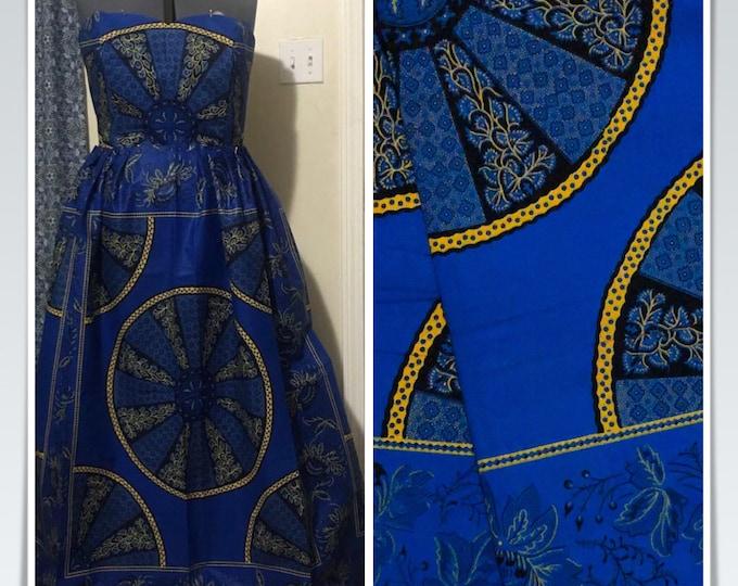 "A1119 per yard Blue wheel of fortune  "" Akuffo"" Design African Fabric/ African Wax print/ Ankara/ African Material/ cloth/ wrapper"