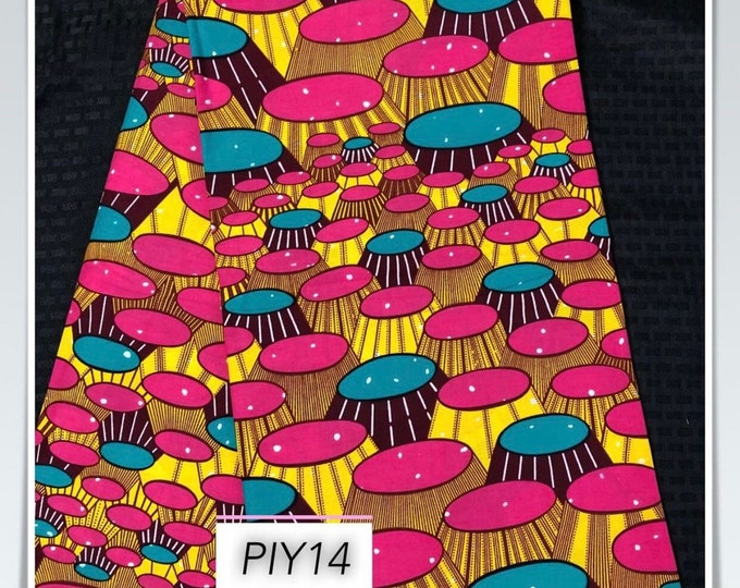PIY14 african fabric per yard pink yellow party banquet tables African Wax print/ Ankara for Sewing Dress/ African hats/ art crafts/do