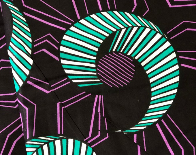 TP11 African fabric per yard purple white  teal turquoise floral African Wax print/ Ankara for Dress/ African cloth dolls/ African d