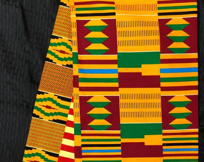 K155 african fabric per yard orange/ yellow/ red/ green kente/ kente Wax print/ kente cloth/ Material/head wrap