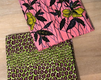 MM491 3 yards Each Pink /green Mix and Match African Fabric/ ankara/ african print/ Material/ ethnic print/Doll cloth