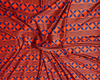 LY7 Kente 4 way Stretch Jersey African fabric per yard african lycra Print for swimsuit/ Lycra african ethnic Print/ stretch fabric/yard