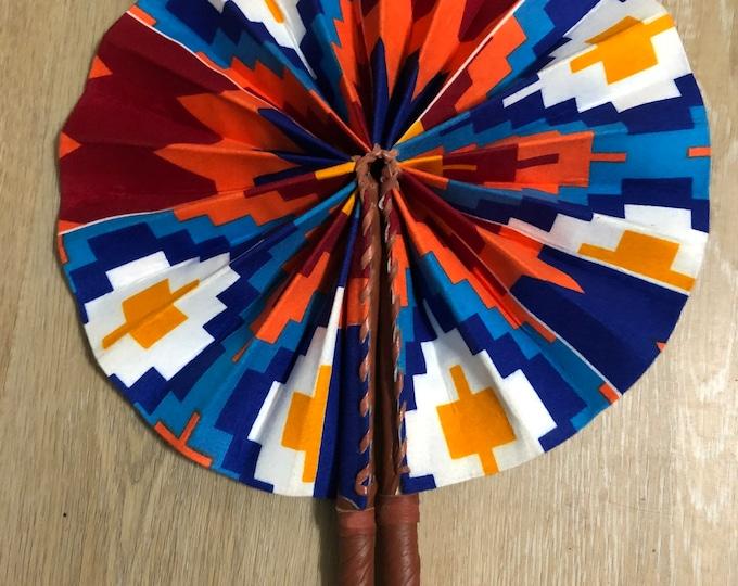 Orange yellow blue Kente Ankara african wedding favor ethnic print fabric round windmill style handmade hand fan with leather trim folding