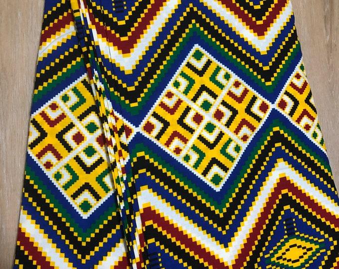 MC148 per yard yellow/ red Blue green kente african Fabric/ kente Wax print/ kente cloth/ Material/head wrap/ethnic tribal print