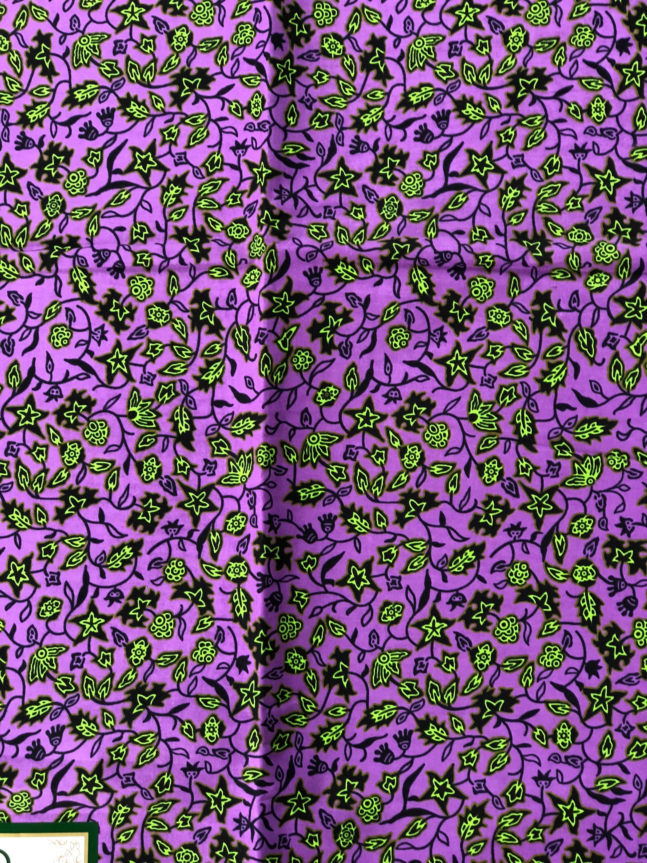 A1451 1 yard Purple Green small leaf Design Doll Cloth/ african