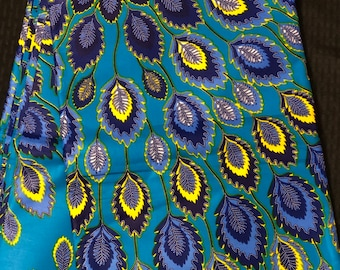 PCK4 african fabric per yard peacock feather  multicolor blue yellow green Design ankara/ african Material/ Cloth/ wrapper/Head tie