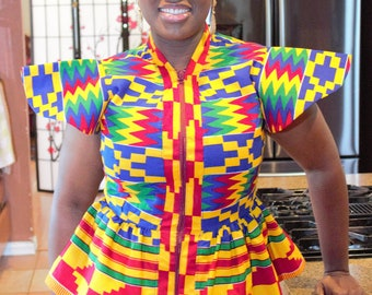 Skirt and blouse set /pair African fabric peplum blouse with collar and skirt women's