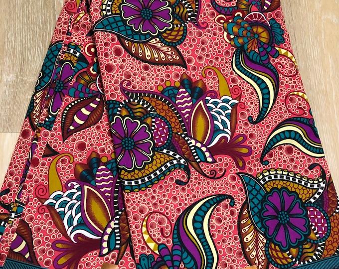 MC141  per yard purple/ pink Blue green floral fiesta paisley african Fabric/ kente Wax print/ cloth/ Material/head wrap/ethnic tribal print