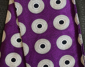 """A622/ Purple eggplant  and white Bullseye  """"Record"""" bullseye """" Nsubura"""" African ankara wax print"""
