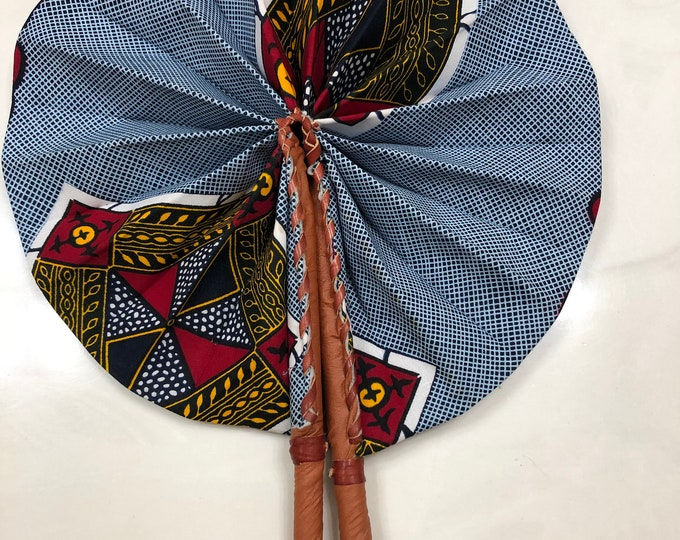 White Blue yellow red  Ankara african wedding favor ethnic print fabric round windmill style handmade hand fan with leather trim folding