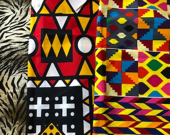SC2 12x22 inch african fabric scraps/ fat sixth/ Kitenge/ankara scraps