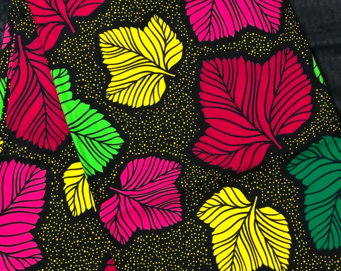 NC1 African fabric per yard multicolor green pink red yellow green floral Design / ankara/ african Material/ Cloth/ wrapper/Head tie