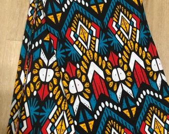 MC151 African fabric per yard Teal Blue Mudcloth orange Design African Wax print/ Ankara/ African Material/ cloth/ wrapper