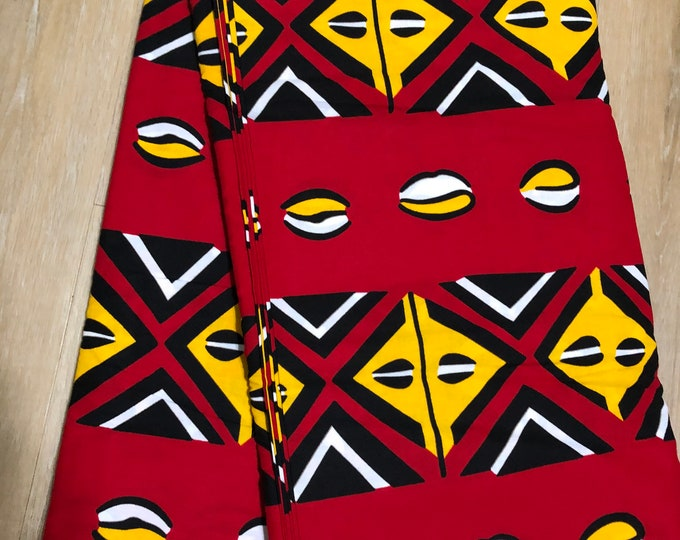 MC139 African fabric by yard White/ yellow black red cowry Mudcloth/ African Wax print: Ankara for Sew Dresses/African art/tribal print