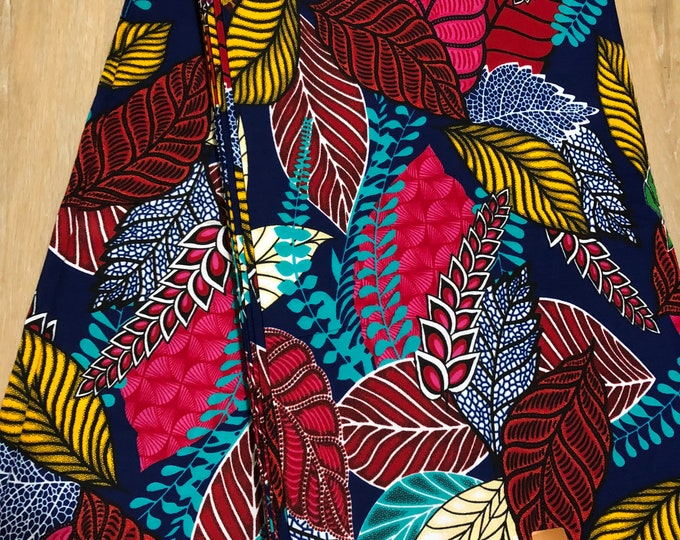 MC104 African fabric per yard multicolor green pink red yellow green leaf  Design / ankara/ african Material/ Cloth/ wrapper/Head tie
