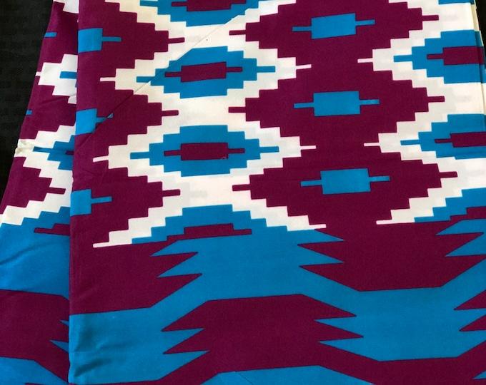 BK13 african fabric per yard kente purple/ Blue Leaf floral kente Wax print/ kente cloth/ Material/head wrap