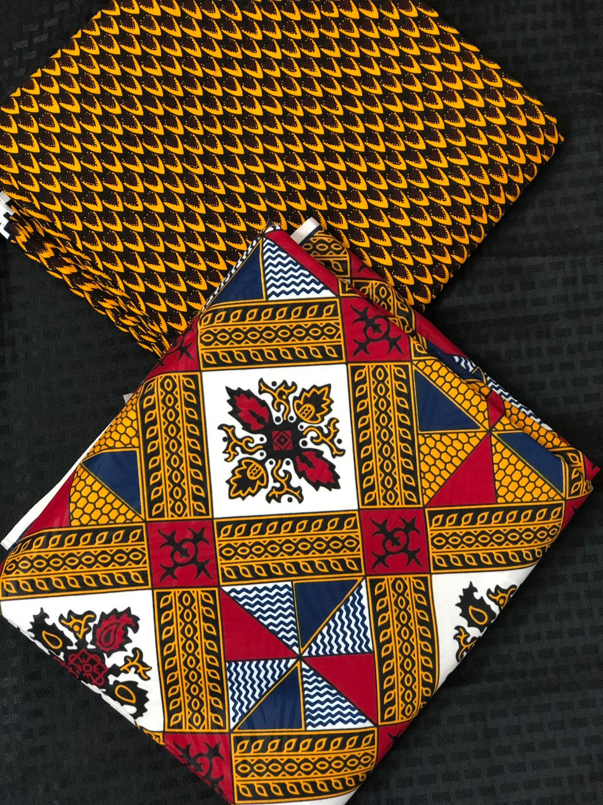 3 Yards Each Mix And Match Brown Red White African Fabric Ankara