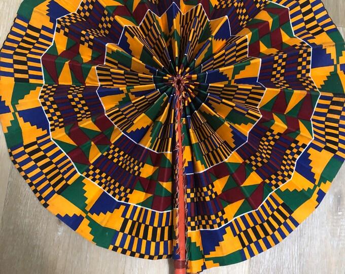 Jumbo size blue orange red Kente Ankara african wedding favor ethnic print fabric round windmill style handmade hand fan leather trim