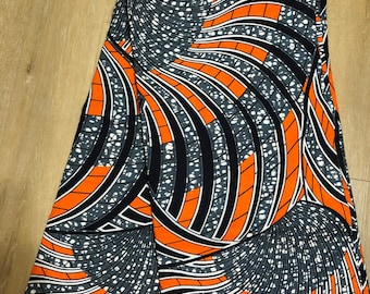 ORB64 6 yard orange gray black African fabric/ african print/ African clothing/ African home decor/ ethnic print/ African material