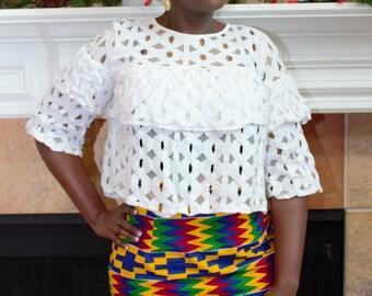 Kente knee length pencil african fabric skirt / ethnic skirt / dashiki skirt / women wear/Ankara/African wax print skirt