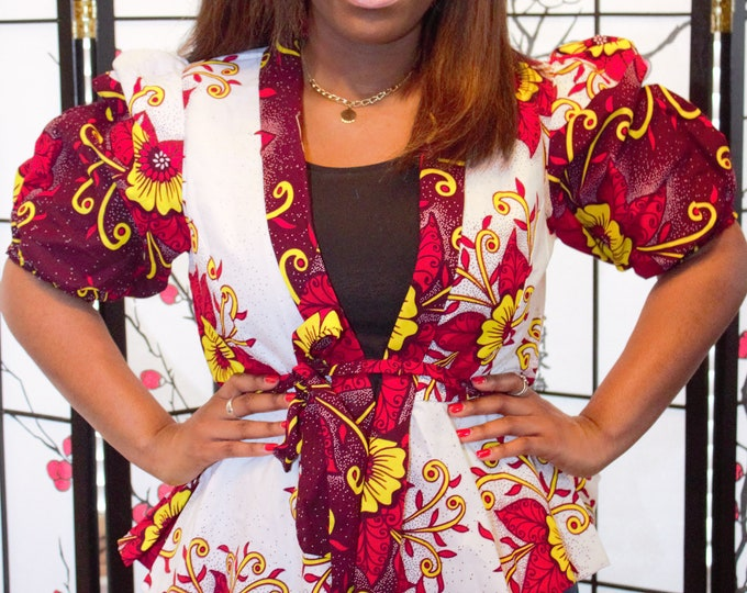 Red yellow floral cotton african mix and match women's jacket top /blouse
