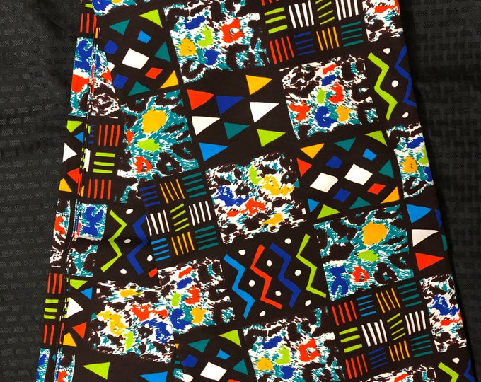 MC94 African fabric per yard multicolor green red yellow blue square patchwork ankara/ african Material/ Cloth/ wrapper/Head tie