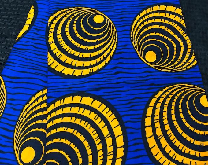 BO14  African fabric per yard Royal Blue orange shell eye african Fabric/ african Wax print/ Ankara/ Material/ cloth/ wrapper