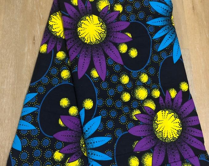 MC135  african fabric per yard royal Purple yellow blue floral bloom african Fabric/ African  print/ kitenge Ankara Sew Dress/ cloth dolls