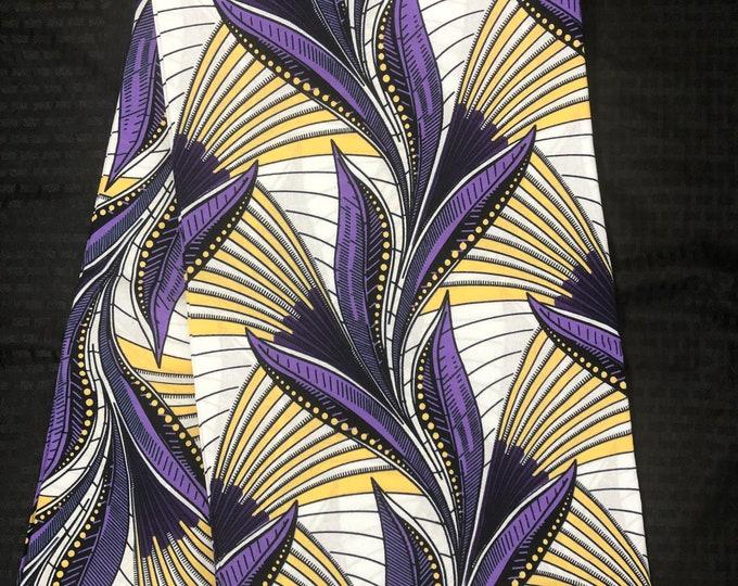 WP1 african fabric per yard white / purple/ Yellow Leaf kente Wax print/ kente cloth/ Material/head wrap