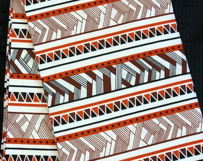 RWB11 African fabric per yard red white brown mud cloth African Wax print: Ankara for Sewing Dresses/ shirts/ African art/ Doll/decor