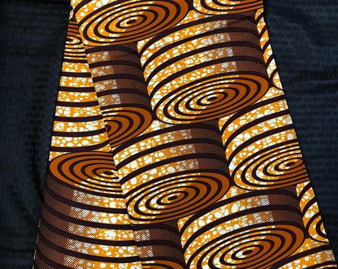 BRN61 6 yard brown wood block african Fabric/ kente Wax print/ kente cloth/ Material/head wrap