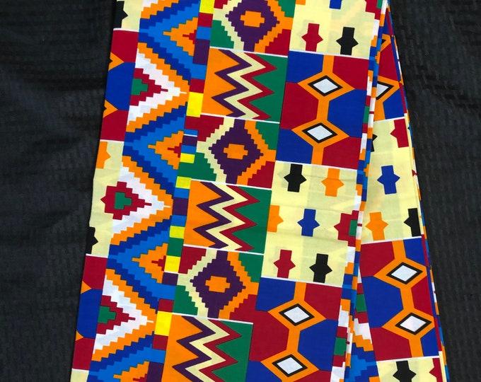 BK61 6 yard orange/ blue / yellow/ red/ Blue  kente african Fabric/ kente Wax print/ kente cloth/ Material/head wrap
