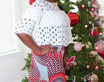 Coral pink gray Long african fabric skirt with  pockets / ethnic skirt / dashiki skirt / women wear/Ankara/African wax print skirt