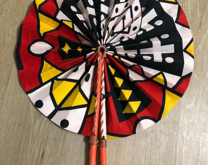 Red  black white SamacA Ankara african wedding favor ethnic print fabric round windmill style handmade hand fan with leather trim folding