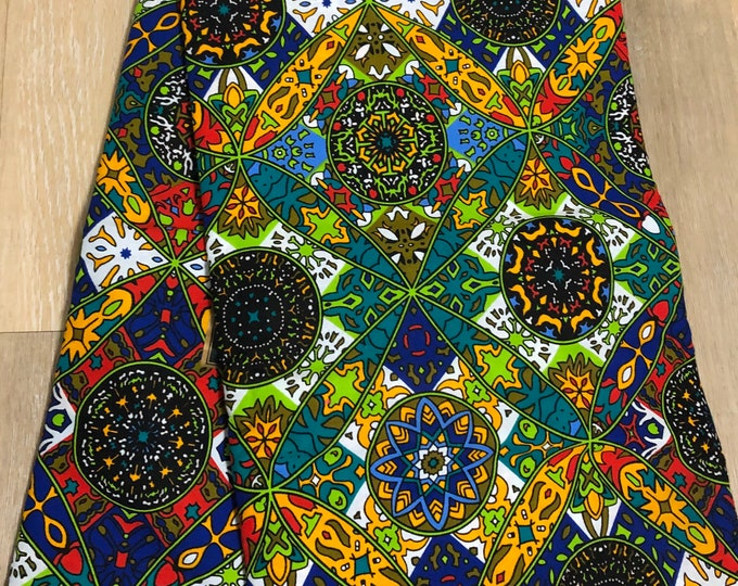MC127  per yard yellow/ orange Blue green fiesta  african Fabric/ kente Wax print/ kente cloth/ Material/head wrap/ethnic tribal print